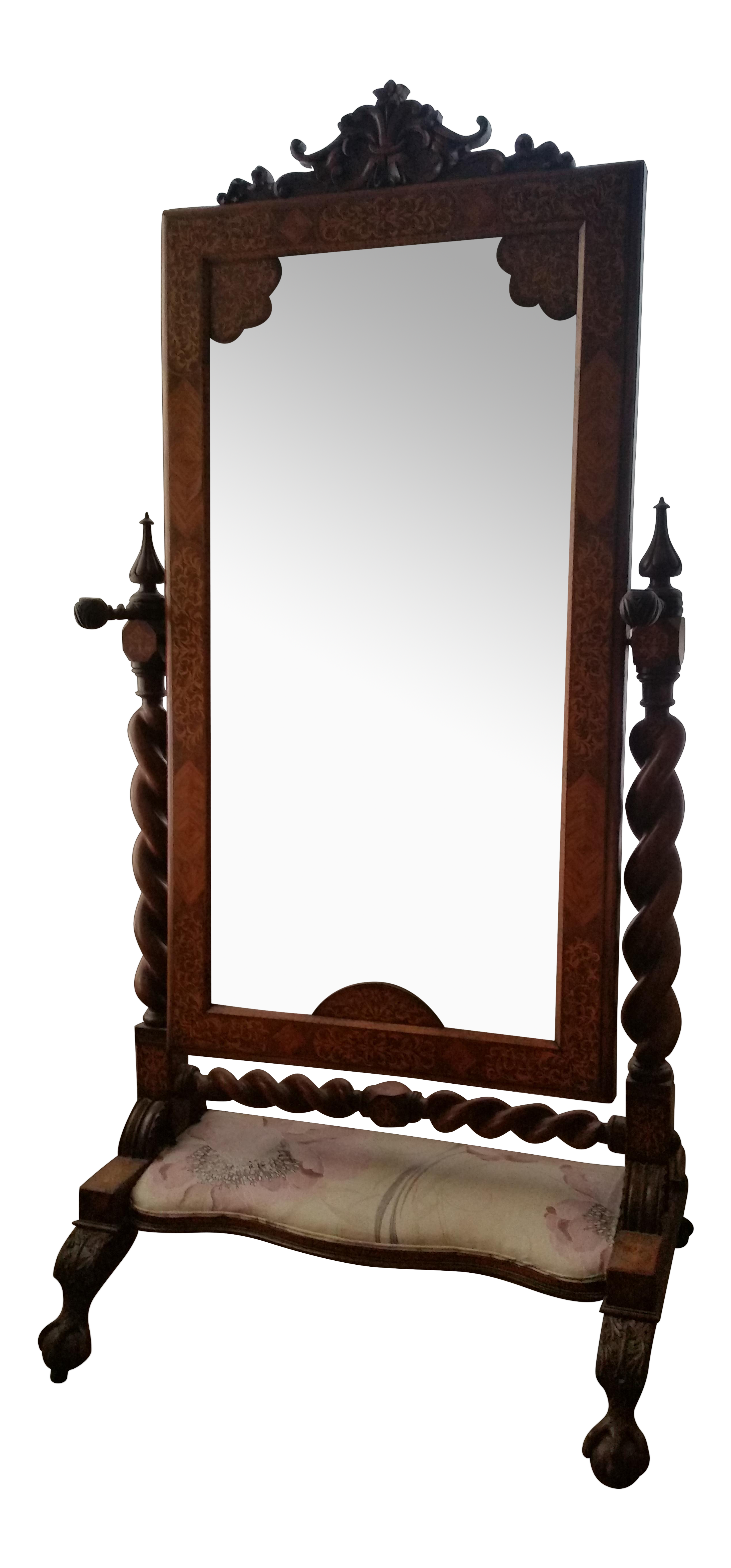 an antique mirror with transparent white background