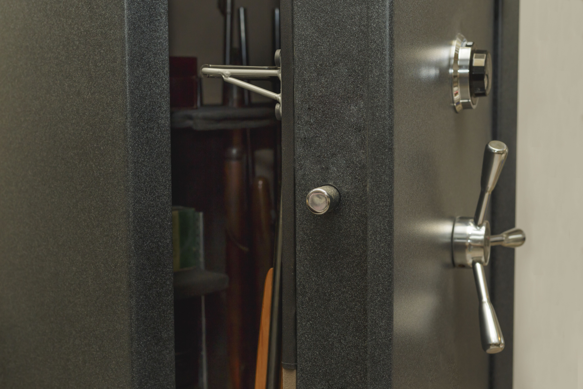 an open gun safe showing contents on the inside